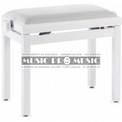 Stagg PB39-WHM-VWH - Banquette de piano couleur blanc mat avec pelote en velours blanc