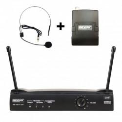 Power Acoustics WM 3400 PT UHF 823 - Simple micro serre-tête + émetteur de poche PT UHF – Freq 823 Mhz