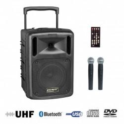 Power Acoustics BE 9610 UHF ABS - Sono portable CD MP3 + USB + DIVX + 2 micros main UHF + Bluetooth