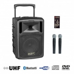 Power Acoustics BE-9610UHF - Sono portable CD MP3 + USB + DIVX + 2 micros main UHF + Bluetooth