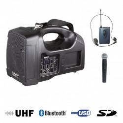 Power Acoustics BE 1400 UHF PT - Sono Portable + USB + 1 Micros Main + 1 Body Pack Serre-Tête UHF