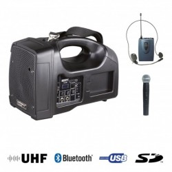 Power Acoustics BE-1400UHF-PT - Sono Portable + USB + 1 Micros Main + 1 Body Pack Serre-Tête UHF