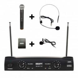 Power Acoustics WM-4400PT-GR2 - Micro main UHF + serre-tête + micro-cravate + émetteur de poche – 824-827.5 MHZ