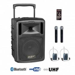 Power Acoustics BE 9208 UHF PT ABS - Sono portable CD MP3+USB+Bluetooth+DIVX + 2 Micros main UHF + 2 Serre-tête