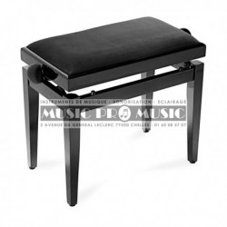 Stagg PB40-BKM-VBK - Banquette piano velour noir bois noir satiné