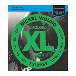 D'Addario EXL220-5 - Cordes 40-125 pour basse électrique 5 cordes