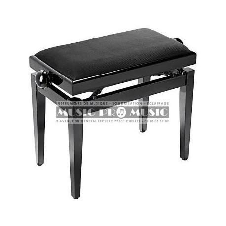 Stagg PB40-BKP-VBK - Banquette piano velour noir bois noir laqué