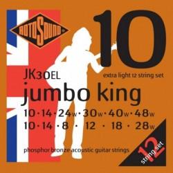 Rotosound JK30EL - Cordes phosphore bronze 10-48 pour guitare acoustique 12 cordes
