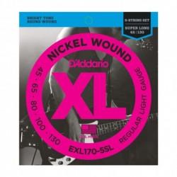D'Addario EXL170-5SL - Jeu de cordes 45-130 pour basse électrique 5 cordes