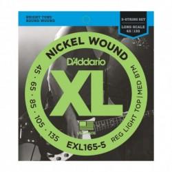D'Addario EXL165-5 - Jeu de cordes 45-135 pour basse électrique 5 cordes