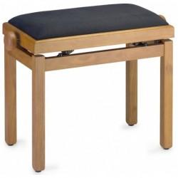 Stagg PB39-CHLM-VBK - Banquette de piano couleur merisier mat clair avec pelote en velours noir