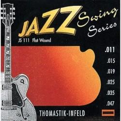 Thomastik JS111 - Jeu de cordes 11-47 filet plat jazz swing pour guitare électrique