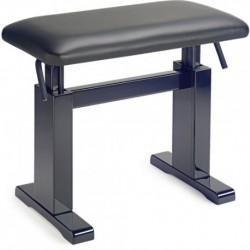 Stagg PBH 780 BKP LBK - Banquette hydraulique pour piano noir brillant avec pelote en cuir noir anti-feu
