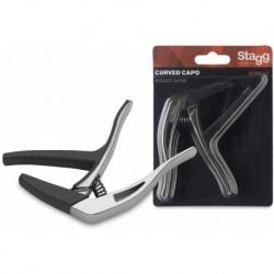 """Stagg SCPX-CU-CR - Capodastre courbé type""""trigger""""(gachette) p.guitare électrique/acoustique"""