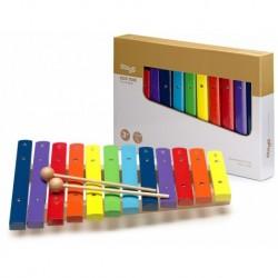 Stagg XYLO-J12-RB - Xylophone avec 12 lames de différentes couleurs et deux mailloches en bois