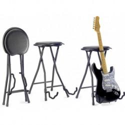 Stagg GIST-300 - Tabouret rond pliable avec stand pour guitare incorporé
