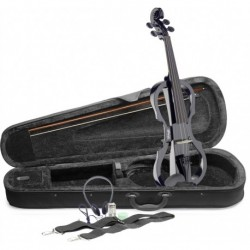Stagg EVN X-4/4 BK - Pack violon électrique 4/4 avec violon électrique noir étui semi-rigide et casque