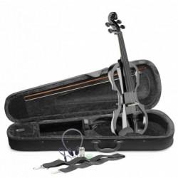 Stagg EVN X-4/4 MBK - Pack violon électrique 4/4 avec violon électrique noir métallique étui semi-rigide et casque