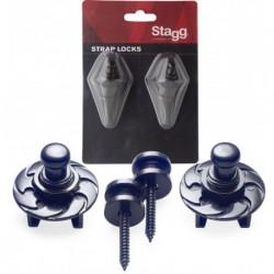 Stagg SSL1-BK - Boutons porte-sangle avec système de blocage