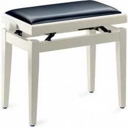 Stagg PB05 WHM SBK - Banquette de piano, blanc mat, avec skai noir