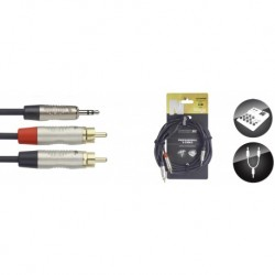 Stagg NUC3/MPS2CMR - Câble en U, mini jack/RCA (m/m), 3 m, N-Series