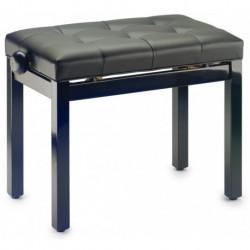 Stagg PB36 BKP SBK - Banquette de piano noir brillant avec pelote en skai noir