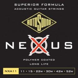 Rotosound NXA11 - Jeu de cordes Nexus Coated 11-52 pour guitare acoustique