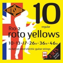 Rotosound R10-2 - 2 Jeux de cordes nickel 10-46 pour guitare électrique
