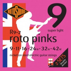 Rotosound R9-2 - 2 Jeux de cordes nickel 9-42 pour guitare électrique
