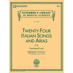 24 Italian Songs & Arias - Medium Low Voice Medium Low Voice - Recueil + Enregistrement(s) en ligne