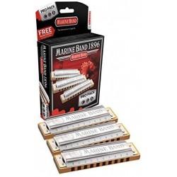 Hohner M1896XP - Pack de 3 harmonicas Marine Band C G A