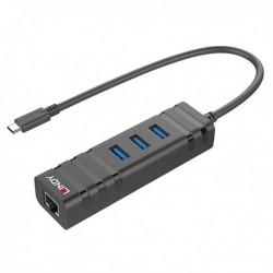Lindy - Adaptateur USB 3.1 type C mâle vers 1x Ethernet Gigabit RJ45 et 3x USB 3.0