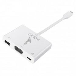 Lindy - Adaptateur USB 3.1 type C mâle vers 1x VGA, 1x USB 3.0, 1x report USB 3.1 - 1080p