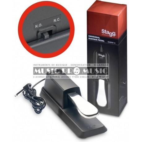 Stagg SUSPED-10 - Pédale de sustain universelle pour piano ou clavier électronique avec inverseur de polarité