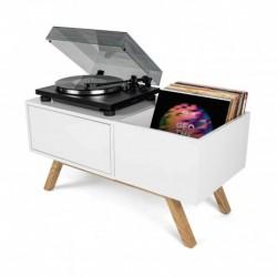Glorious Dj TURNTABLE LOWBOARD - Meuble blanc rétro pour 130 vinyles