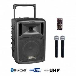 Power Acoustics BE 9208 UHF ABS - Sono portable CD MP3+USB+Bluetooth+DIVX + 2 Micros main UHF