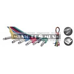 Stagg SPC030L-E - Câble de patch mono 6 x jack/jack (m/m coudé) 30 cm plastique moulé
