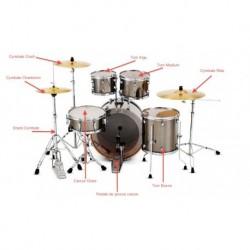 """Batterie d'étude complète Standard 22"""" + hardware + cymbales (HH,Cr,Rd) + siège + clé de serrage"""