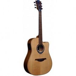Lâg THV10DCE - Guitare Tramontane Hyvibe 10 Satin électro-acoustique dreadnough cutaway table épicéa massif avec housse