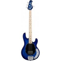 Sterling by Music Man RAY34QM-NBL-M2 - Basse electrique active Quilted Maple Neptune Blue manche érable avec housse