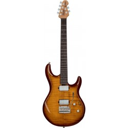 Sterling by Music Man LK100-HZB - Guitare électrique Steve Lukather Flame Maple Hazel Burst avec housse