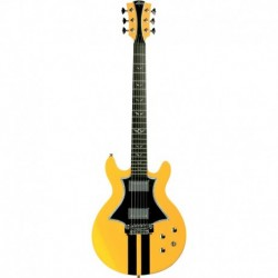 Lag RR1500-RYE - Guitare électrique Roxane Racing 1500 Yellow Made In France peuplier massif USA avec housse