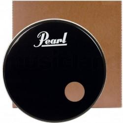 """Pearl EB20BDPLH - Peau de timbre 20"""" pour grosse caisse noire avec logo et perçage décentré"""