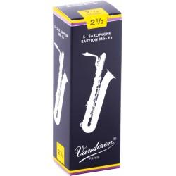 Vandoren SR2425 - Boite de 5 anches traditionnelles force 2,5 pour saxophone baryton Mib