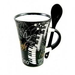 Mug Cappuccino noir - motifs piano