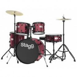 """Stagg TIM120B WR - Batterie acoustique Fusion 20"""" bordeaux avec siège cymbales et baguettes"""
