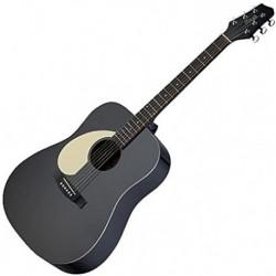 Stagg SA30D-BK-LH - Guitare acoustique dreadnough gaucher noir mat