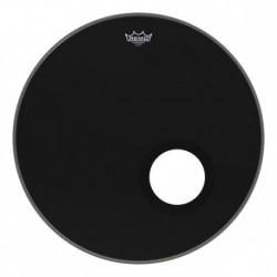"""Remo EN-1022-ES - Peau Ebony Ambassador 22"""" avec découpe décentrée pour grosse caisse"""