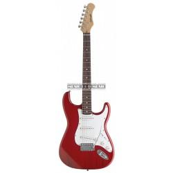 Stagg S300-TR - Guitare électrique rouge transparent forme stratocaster
