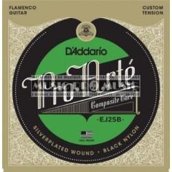 D'Addario EJ25B - Jeu de cordes Composite Tension Hard nylon noir pour guitare classique flamenco